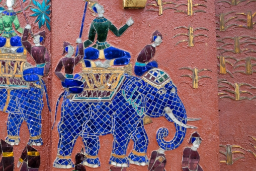Elephants play an important role in Lao history and culture. This is from a temple wall in Luang Prabang.