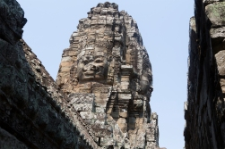 The Bayon, Jayavarmans temple inside Angkor Thom is characterized by towers with giant faces on all sides.