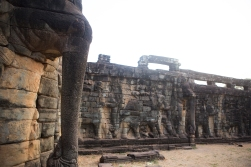 The Elephant terrace is a large stone platform decorated with live size elephant statues and images.