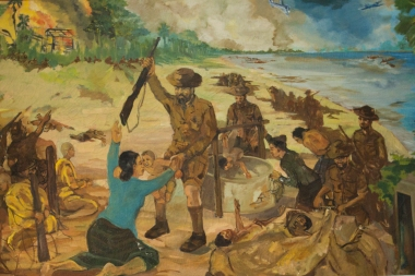 "The ""Vietnam War"" is not the only war in the recent history of South East Asia. This painting is from the National Museum in Vientiane and shows French brutality against local villagers during the years of colonization."