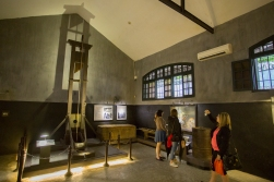 The prison guillotine, installed in Hoa Lo Prison by the French, is still in working order.