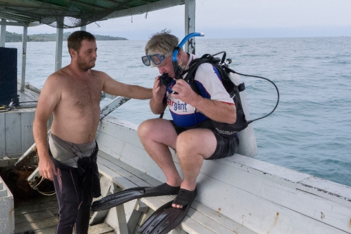 We did several dive trips at Koh Rong. Here DHH is ready to go, under the guidance of dive guide Kylie.