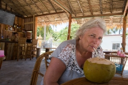 Robbie has a couple of neighbors. Here is ES enjoying a coconut in a small bar down on the beach.