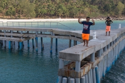 Robbie on the pier, waving us goodbye.