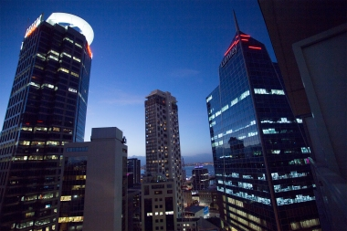 The night view from our Auckland hotel terrace.