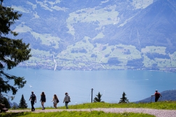 The hikers are all over Rigi when there ever is a sunny day.