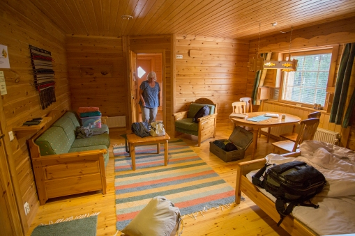 f your hotel room is made totally out of timber and has a sauna where the bathroom should have been, then you probably are in Finland.