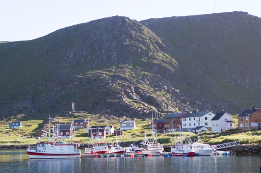 Ingøy village. 21 people (or is it 22) are registered as living here. The children are long gone, so the school (the large red and white buildings in the middle of the pic) is now being redone into a hotel.