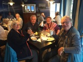 Drinking farewell with our Ingøy landlords in one of Hammerfest's better restaurants!