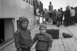 DHH and his cousin visiting the first «Lofoten» in Sandnessjøen in 1957.