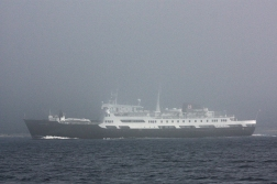 The «Lofoten» in the mist of the Trondheim fjord, 2008.