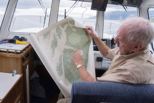 Yes, he has a GPS, but the old maps are never far away.