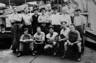The Skipper, far left, on his first ocean going vessel in 1946. Somehow he still looks 20 today.The Skipper, far