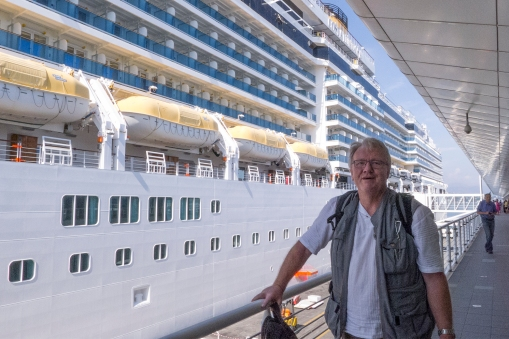 The first glimpse of our new home, DHH about to board the Costa Luminosa in Savona, Italy.