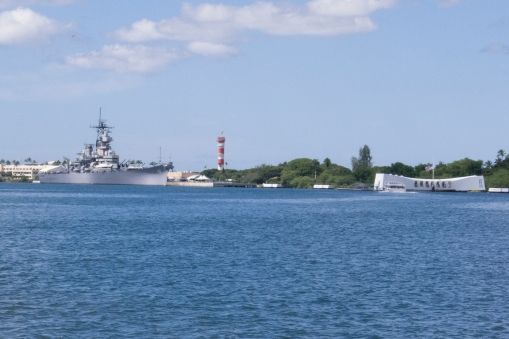 Pearl Harbor, Hawaii. The USS Missouri, to the left and the USS Arizona memorial, to the right. If you are from the US, there are no more potent symbols of the Second World War than this!