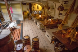 The biggest room under deck would sleep 60 men at night, and it would be their mess and their living space at daytime. The replica is correct all down to the interior furniture and standing equipment.