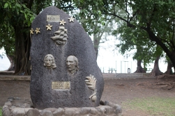 The Bounty memorial in Matavi Bay. It has to be said that the fellow who did Fletcher Christian (left) and William Bligh in bronze might not have been the most talented artist in the Pacific.