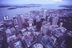 Auckland, New Zealand, as Cook never saw it. He found the bay and the harbour, but he never climbed the Sky Tower.