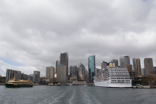 Even against the Sydney skyline our ship is a towering sight to see.