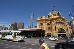 The beautiful Flinders Street Railway Station by the banks of the Yarra River.