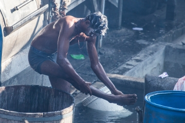 The basins are not only used for the laundry, the workers also use them for their own morning baths!