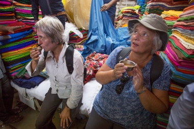 Two exhausted ladies drinking tea. They very literally shopped till they dropped!