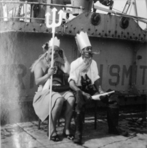 The baptism at sea is an ancient maritime tradition. Here King Neptun is waiting on the deck ready to ambush crew members of a ship that DHH's parents crossed the line on, back in 1952!