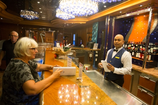 In the wine bar on deck 3 where our favorite bartender, The Magician, spends his evenings.