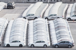 If anything impressed us, it was the skills of those who parked these cars. They stand on the pier ready for further transport. This picture is not photoshopped!