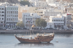 This is a dhow, the ocean going vessel that once made it possible for the Sultan of Oman to stretch his empire down the coast of East Africa all the way to Zanzibar.