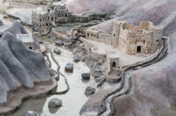 This is a traditional Oman mountain village, but not a pic taken from the air. It is of a model in a museum, and it shows the structure of the 2500-year-old irrigation system that is still the backbone of local agriculture.