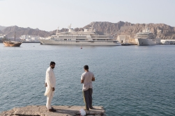 The closest we came to the Sultan was a view of his private yacht, here in the centre of the picture.