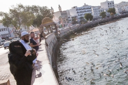 A local family looking at the birds at the seaside of downtown Muscat. This lady wears a veil, but the vast majority of the women we saw here did not. On average, we meet as many faceless women on Oxford Street in central London as we do in Muscat.