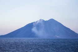 Passing the smoking gun, the eternally active volcano of Stromboli.
