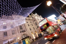 On dark winter nights the streets are lit up by colorful decorations, and by the light from all the buses of course!