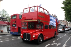 In London, if you have something to celebrate, like a football triumph, you use a bus.