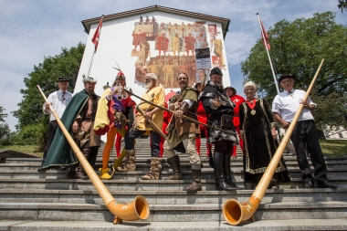 The group outside the Swiss Museum of the Swiss Charters of Confederation in Schwyz. The alphorns were not part of our circus, they were there as part of the local scenery.