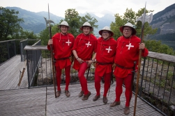 The Swiss Rote Brigade followed the legends on the tour, protecting them from tourists, fans and enemies.