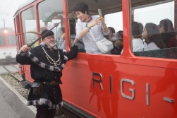 The Nasty Sheriff chopping heads of tourists on a train ride up mount Rigi.