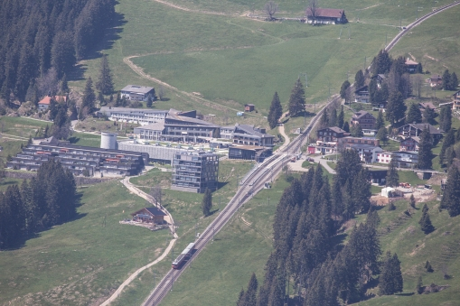 The village of Kaltbad, where the apartment is situated. The house is a bit to the right of the picture, what we see here is the railway that takes us up from Vitznau by the lake.