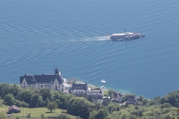 A steamer on it's way to the city of Lucerne, seen from 1000 metres above lake-level.