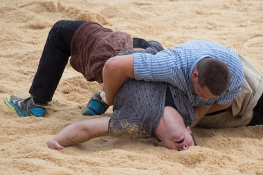 You have not lost until your back is down in the sawdust. The guy with his face buried in the ground actually