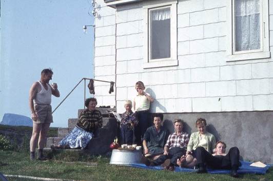 Generation Two gathered at the house to help work the land. This is a coffee break, 1964.