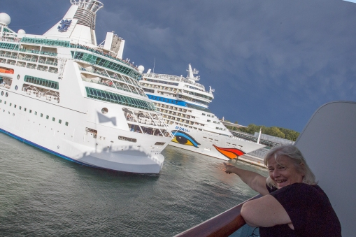 Ready for adventure! ES is back on the Costa Luminosa, standing on our balcony watching other cruisers leave port!