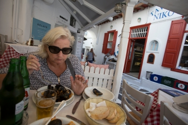 We only went ashore twice in 7 days. Here ES is about to attack a plate of mussels in a small Mykonos cafe.