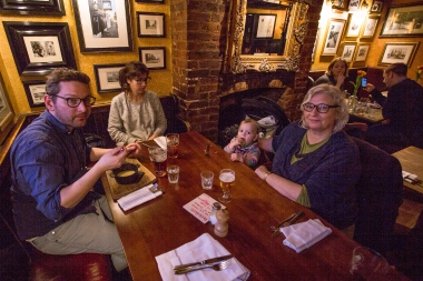 The Grandson and his extended family having dinner at The Dove pub in Hammersmith.