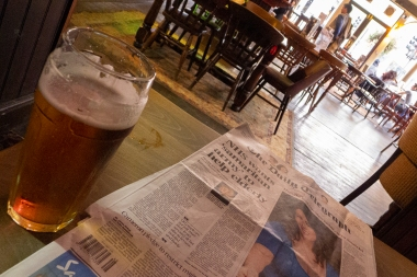 A four pound pint. For reasons unknown the NHS was first page news instead of Brexit, but this was corrected the following day.