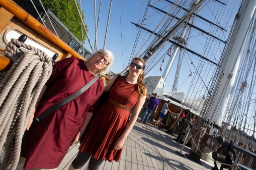 Still the Cutty Sark. ES can here be seen sporting one of her London made dresses. The fabric was bought in Mumbai, the dress was made by Anna in Shepherds Bush.