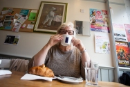 A morning coffee at Liz Cafe in Goldhawk Road, an excellent place for the traditional English Breakfast!