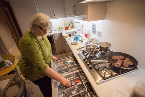 Making dinner. Housing is expensive in London, but compared to Norway and Switzerland food is inexpensive.